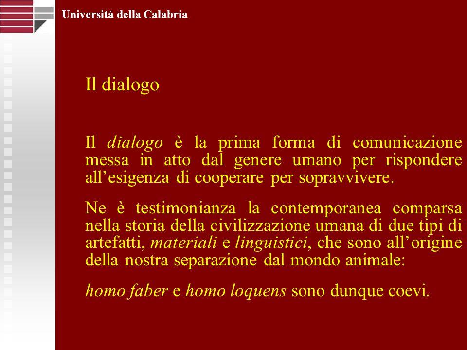 Università della Calabria Il dialogo Il dialogo è la prima forma di comunicazione messa in atto dal genere umano per rispondere allesigenza di coopera