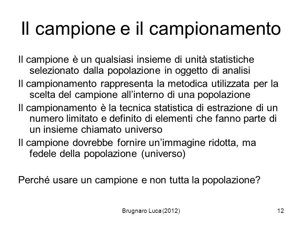 Brugnaro Luca (2012)12 Il campione e il campionamento Il campione è un qualsiasi insieme di unità statistiche selezionato dalla popolazione in oggetto