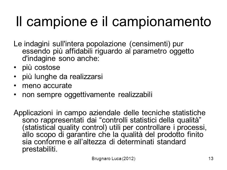 Brugnaro Luca (2012)13 Il campione e il campionamento Le indagini sull'intera popolazione (censimenti) pur essendo più affidabili riguardo al parametr