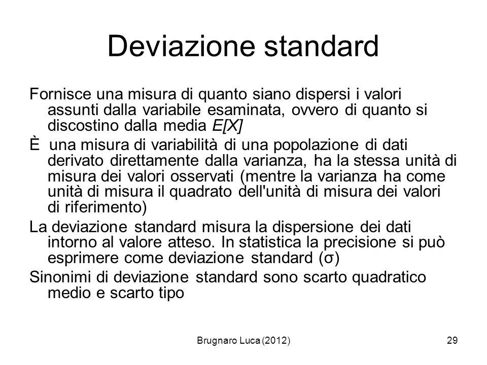 Brugnaro Luca (2012)29 Deviazione standard Fornisce una misura di quanto siano dispersi i valori assunti dalla variabile esaminata, ovvero di quanto s