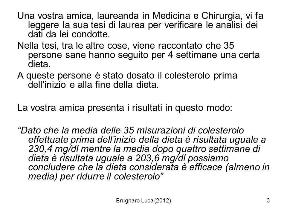 Brugnaro Luca (2012)14 Statistica inferenziale Una analisi statistica si dice inferenziale quando è utile per desumere da un campione un informazione relativa a tutta la popolazione Alla base della statistica inferenziale vi sono due grossi argomenti (tra loro fortemente legati): la teoria della stima la verifica dipotesi