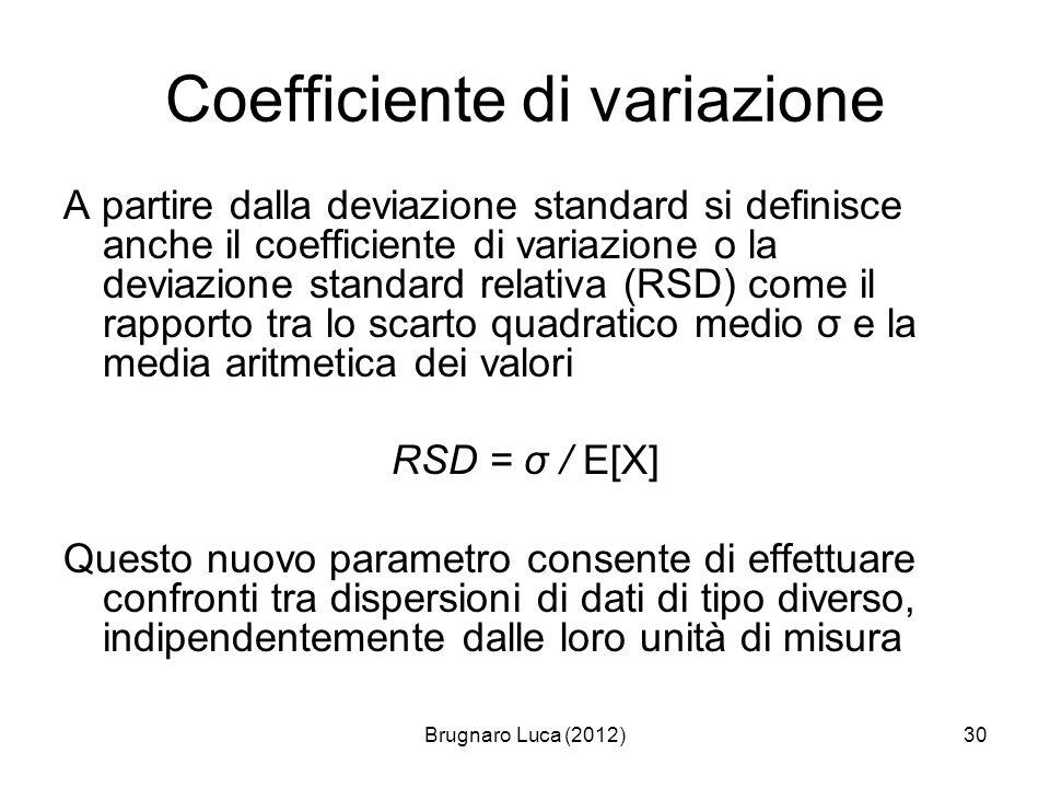 Brugnaro Luca (2012)30 Coefficiente di variazione A partire dalla deviazione standard si definisce anche il coefficiente di variazione o la deviazione