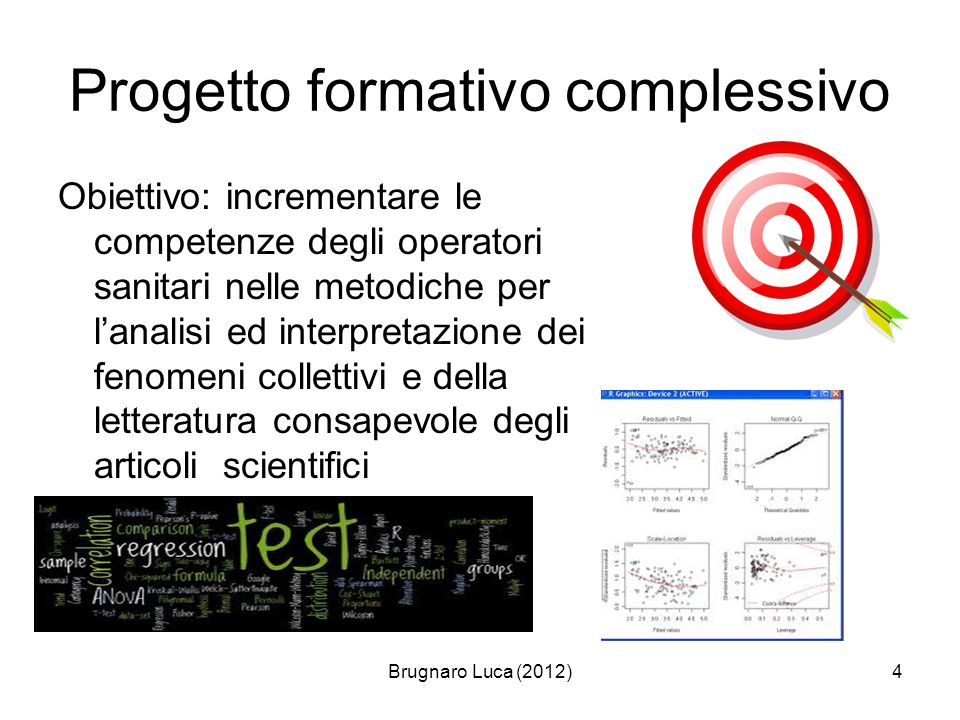 Brugnaro Luca (2012)4 Progetto formativo complessivo Obiettivo: incrementare le competenze degli operatori sanitari nelle metodiche per lanalisi ed in