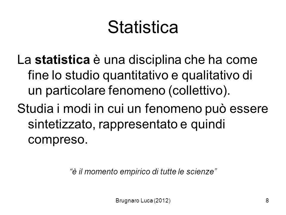 Brugnaro Luca (2012)8 Statistica La statistica è una disciplina che ha come fine lo studio quantitativo e qualitativo di un particolare fenomeno (coll