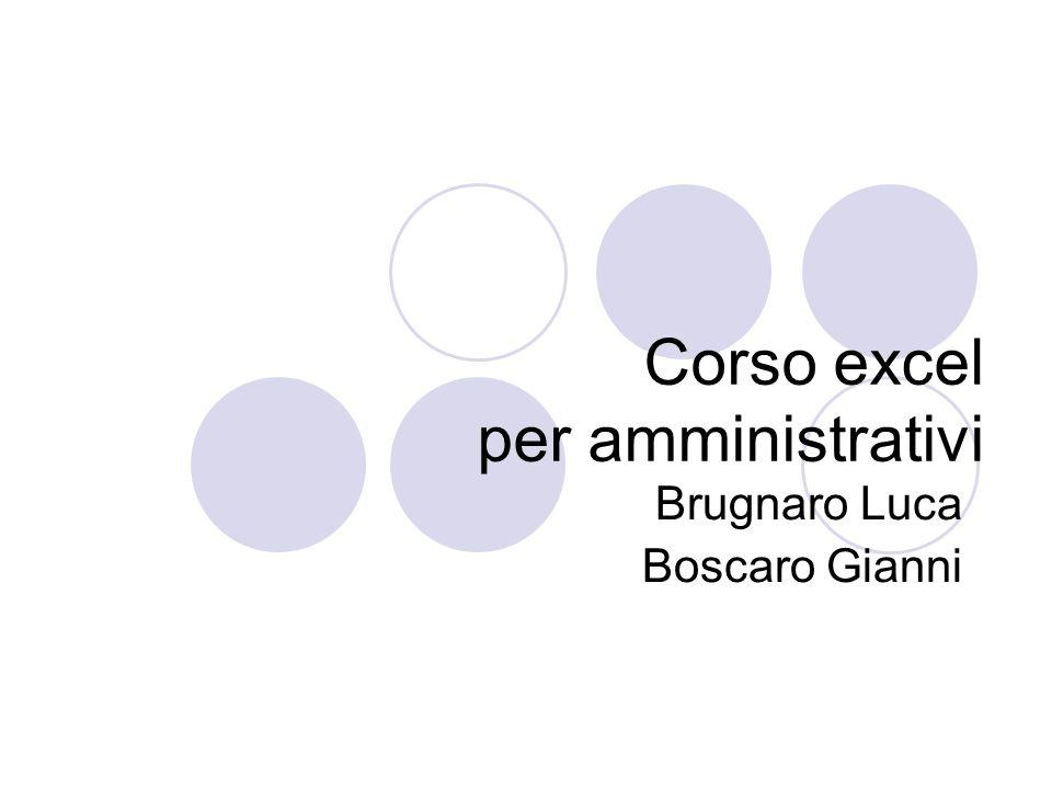 Corso excel per amministrativi Brugnaro Luca Boscaro Gianni