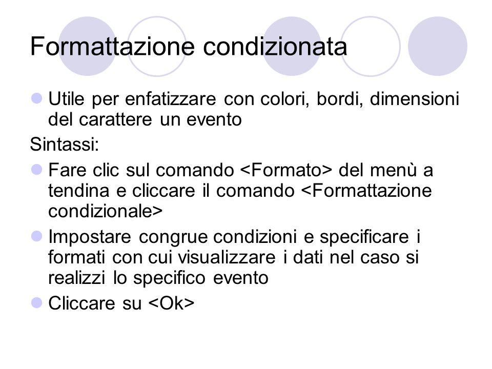 Formattazione condizionata Utile per enfatizzare con colori, bordi, dimensioni del carattere un evento Sintassi: Fare clic sul comando del menù a tend
