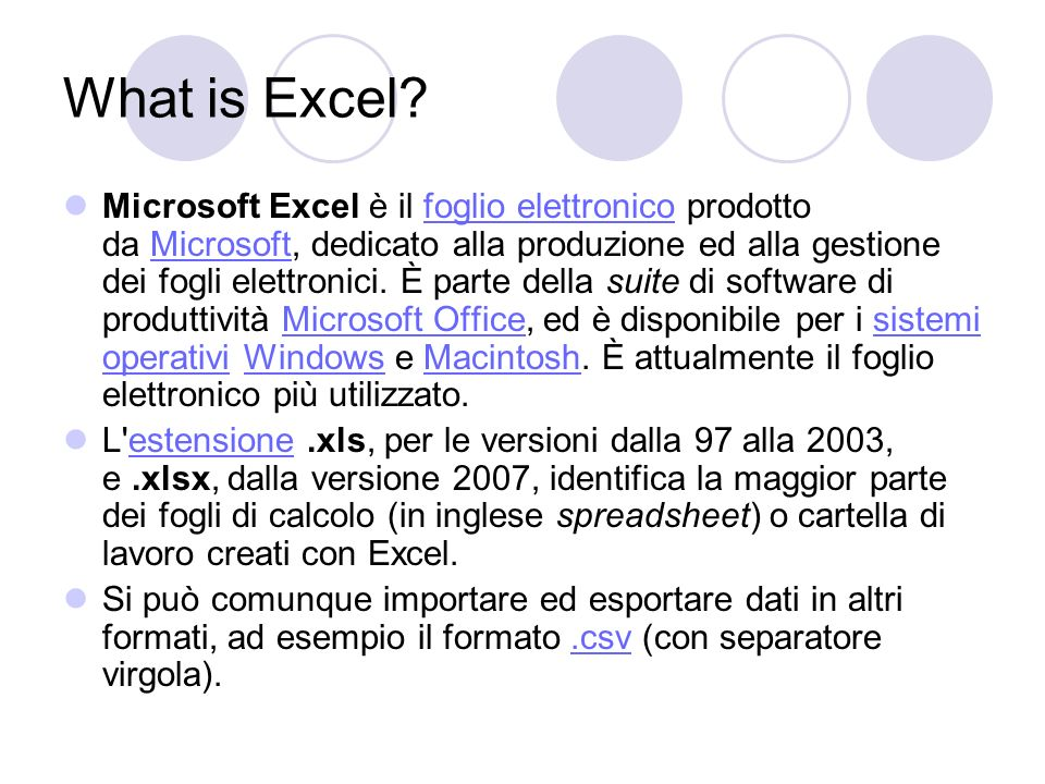 Come si presenta Excel .