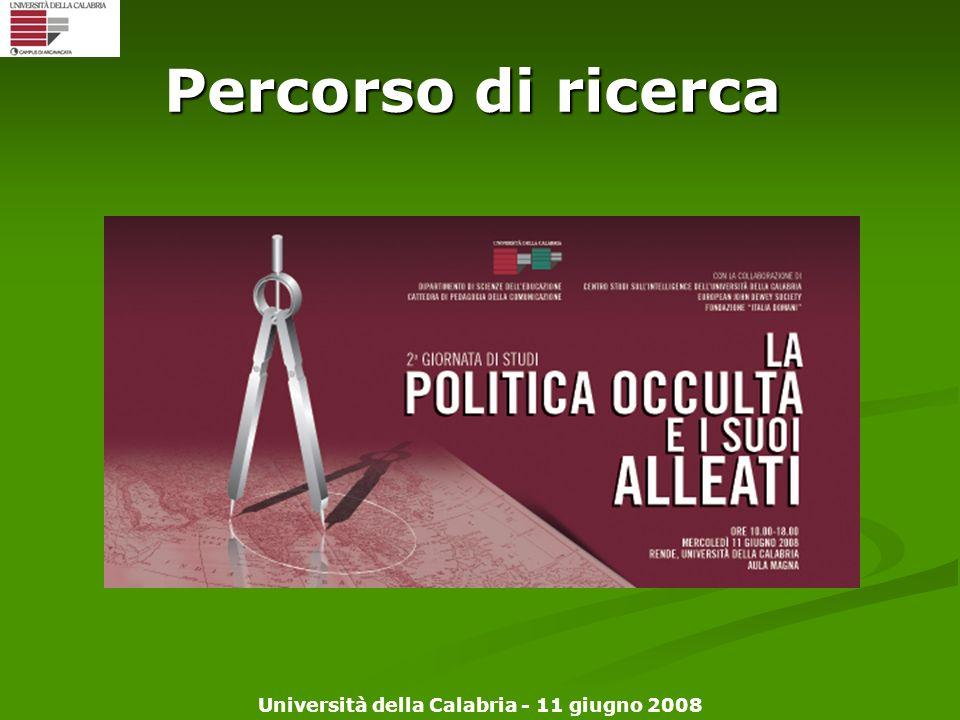 Università della Calabria - 11 giugno 2008 Percorso di ricerca