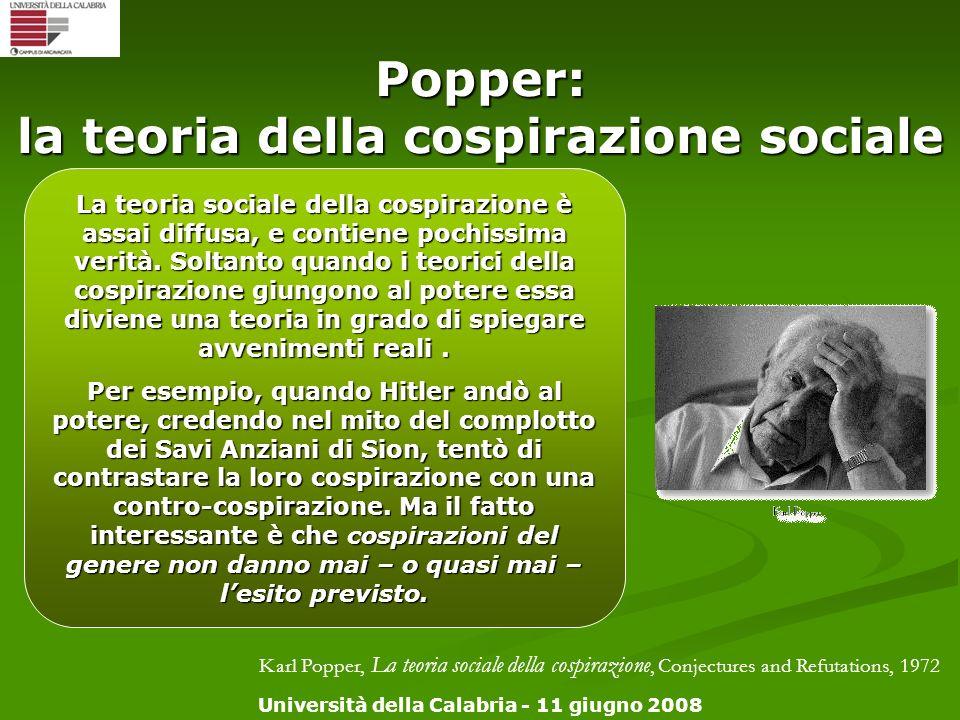 Università della Calabria - 11 giugno 2008 Popper: la teoria della cospirazione sociale Karl Popper, La teoria sociale della cospirazione, Conjectures