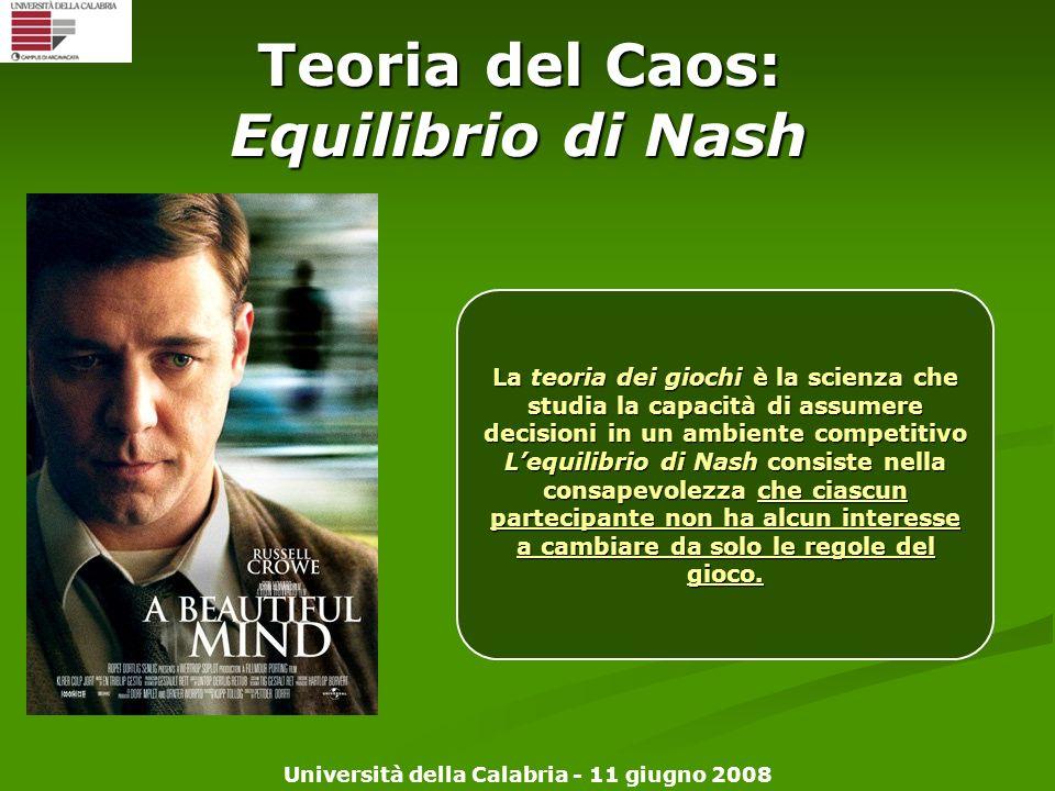 Università della Calabria - 11 giugno 2008 Teoria del Caos: Equilibrio di Nash La teoria dei giochi è la scienza che studia la capacità di assumere de