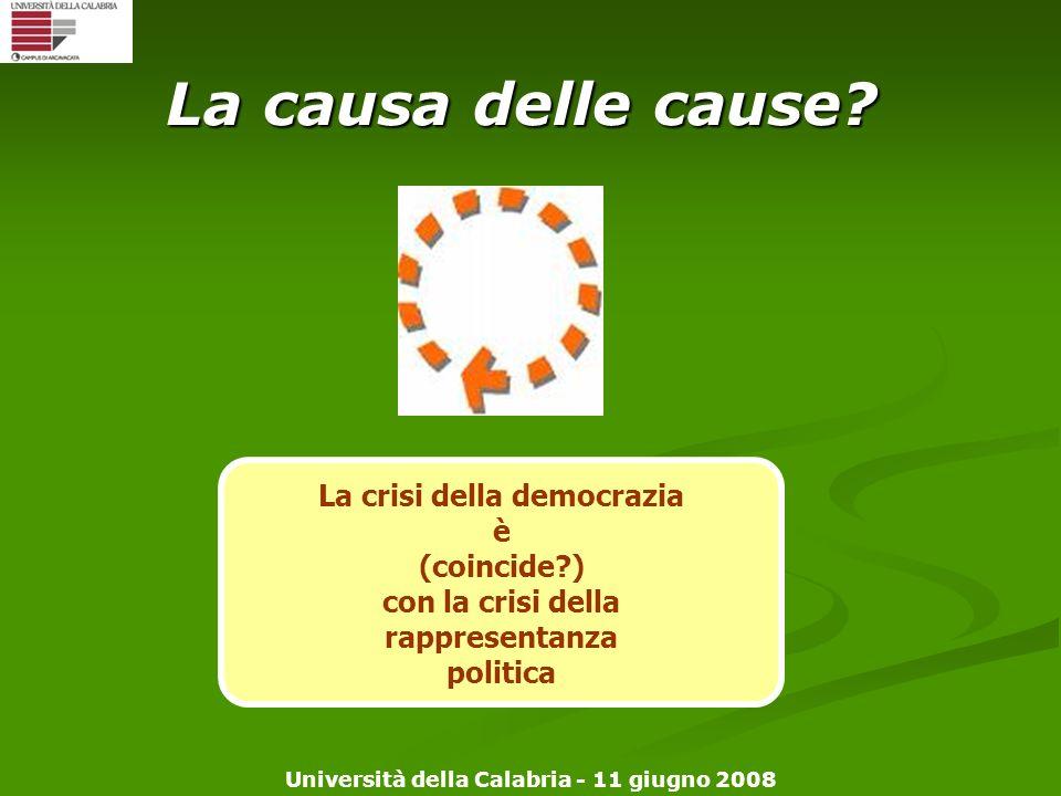 Università della Calabria - 11 giugno 2008 La causa delle cause? La crisi della democrazia è (coincide?) con la crisi della rappresentanza politica