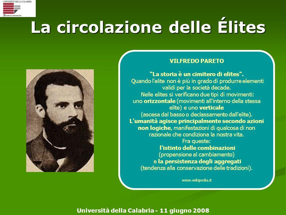 Università della Calabria - 11 giugno 2008 La circolazione delle Élites VILFREDO PARETO La storia è un cimitero di elites