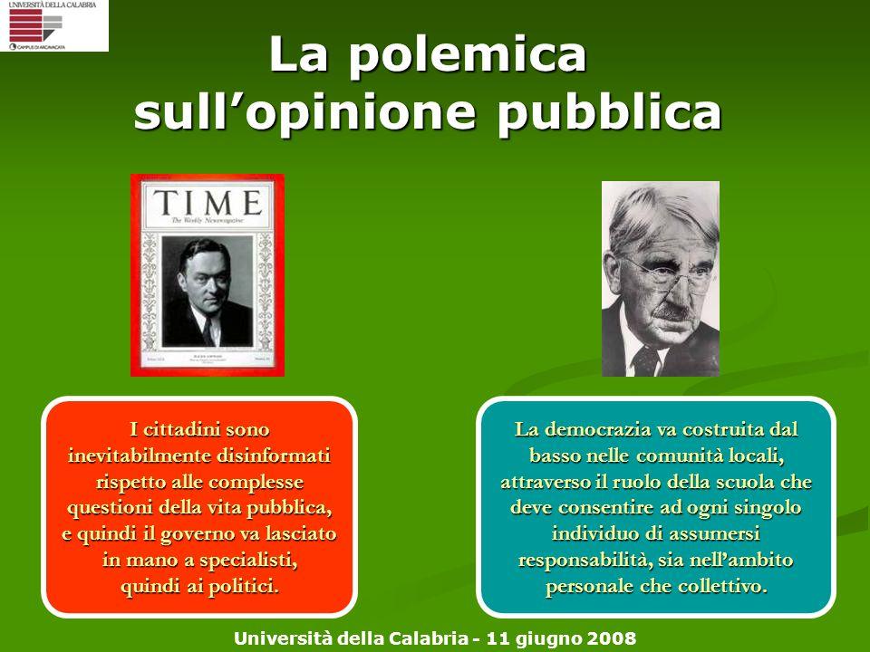 Università della Calabria - 11 giugno 2008 La polemica sullopinione pubblica La democrazia va costruita dal basso nelle comunità locali, attraverso il