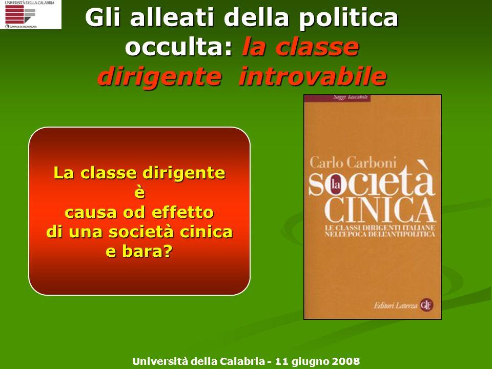 Università della Calabria - 11 giugno 2008 Gli alleati della politica occulta: la classe dirigente introvabile La classe dirigente è causa od effetto