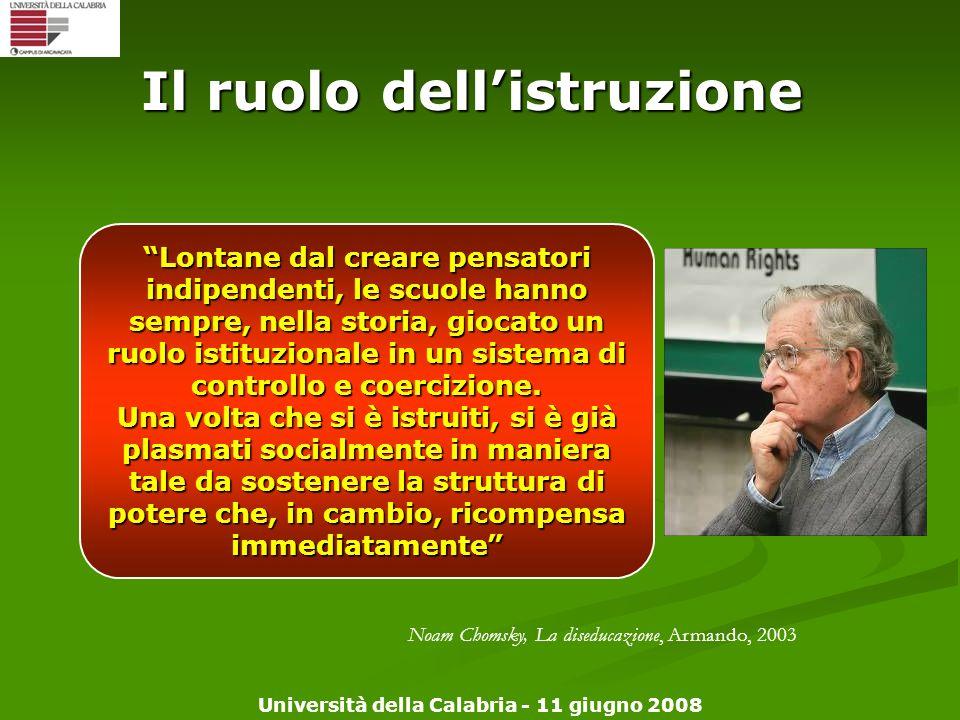 Università della Calabria - 11 giugno 2008 Il ruolo dellistruzione Lontane dal creare pensatori indipendenti, le scuole hanno sempre, nella storia, gi
