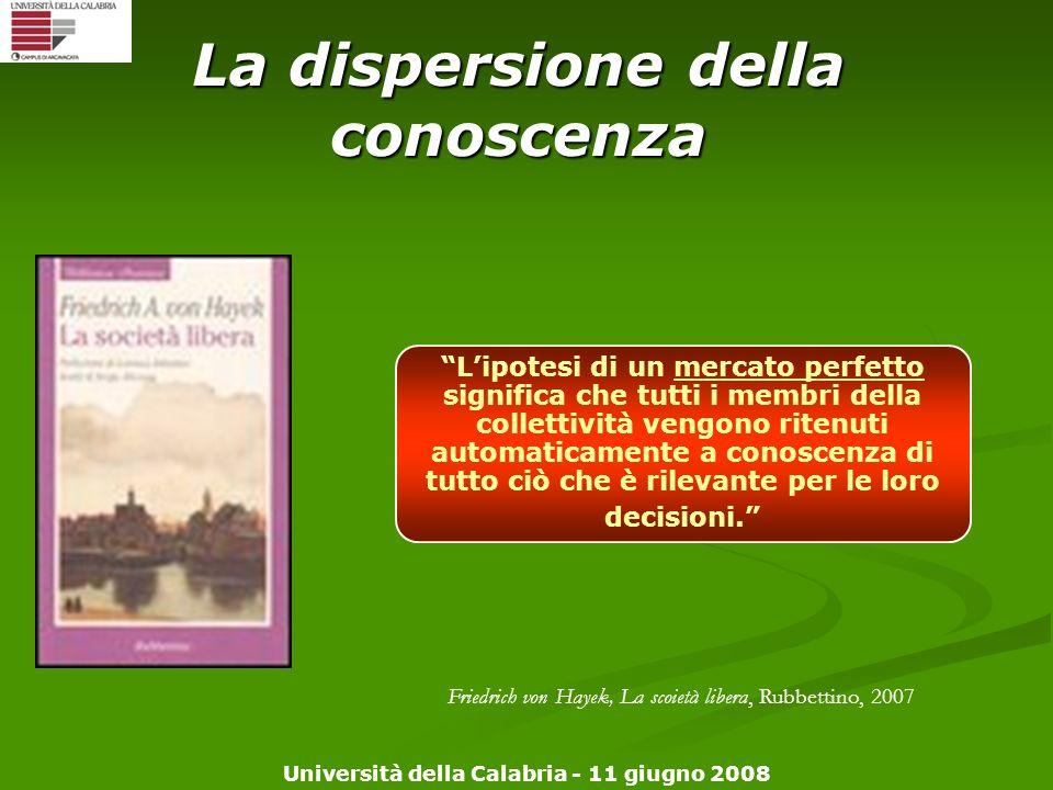 Università della Calabria - 11 giugno 2008 La dispersione della conoscenza Lipotesi di un mercato perfetto significa che tutti i membri della colletti