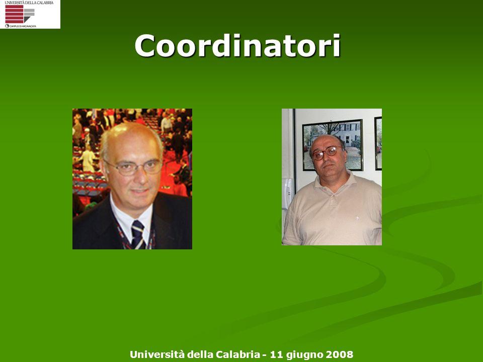 Università della Calabria - 11 giugno 2008 Coordinatori