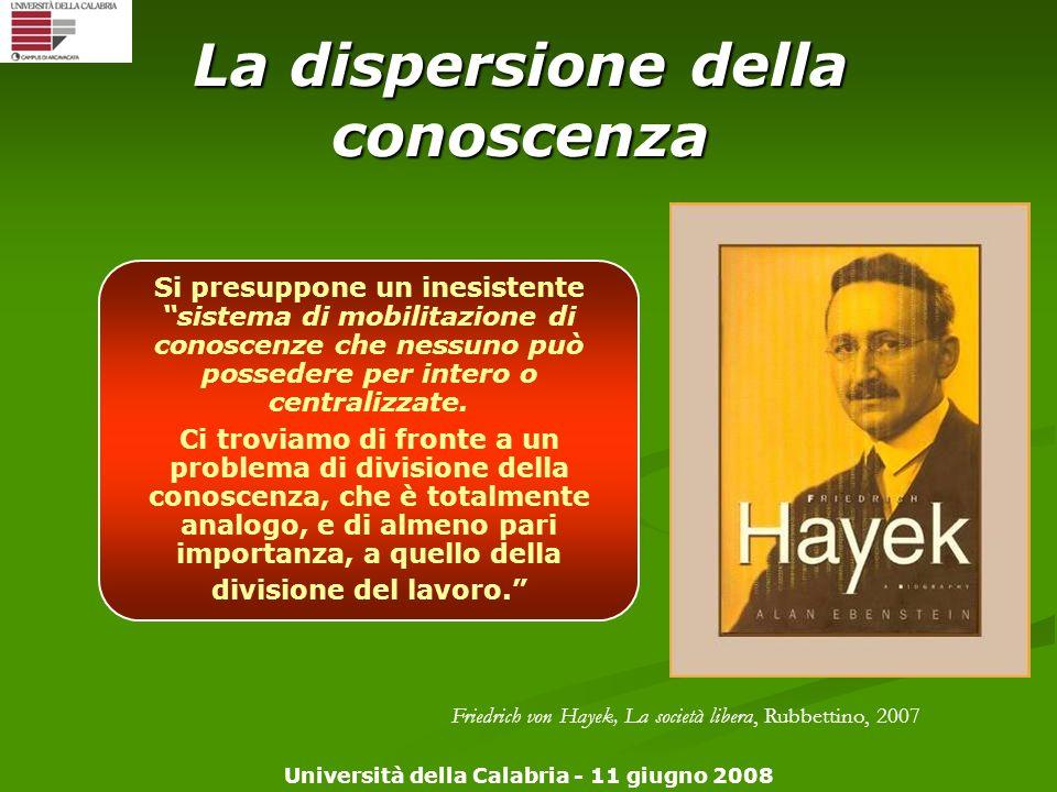 Università della Calabria - 11 giugno 2008 La dispersione della conoscenza Si presuppone un inesistente sistema di mobilitazione di conoscenze che nes