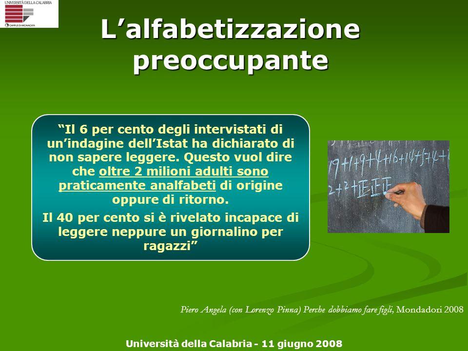 Università della Calabria - 11 giugno 2008 Lalfabetizzazione preoccupante Il 6 per cento degli intervistati di unindagine dellIstat ha dichiarato di n