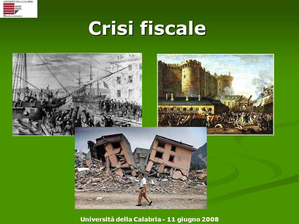 Università della Calabria - 11 giugno 2008 Crisi fiscale
