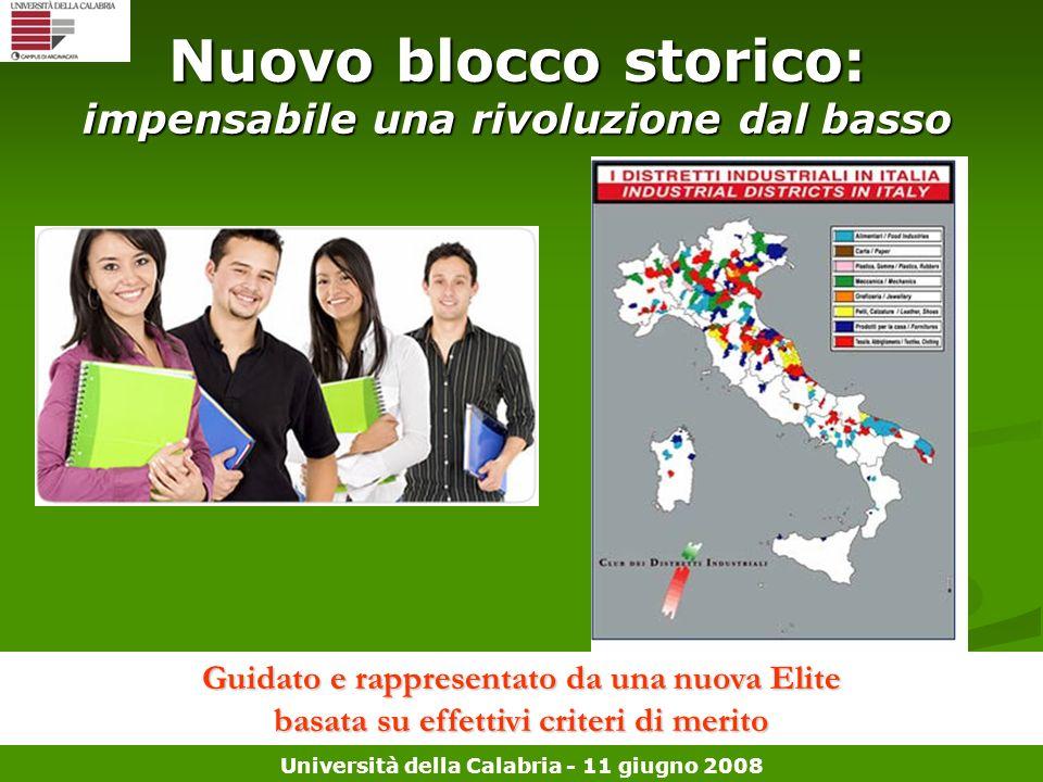 Università della Calabria - 11 giugno 2008 Nuovo blocco storico: impensabile una rivoluzione dal basso Guidato e rappresentato da una nuova Elite basa