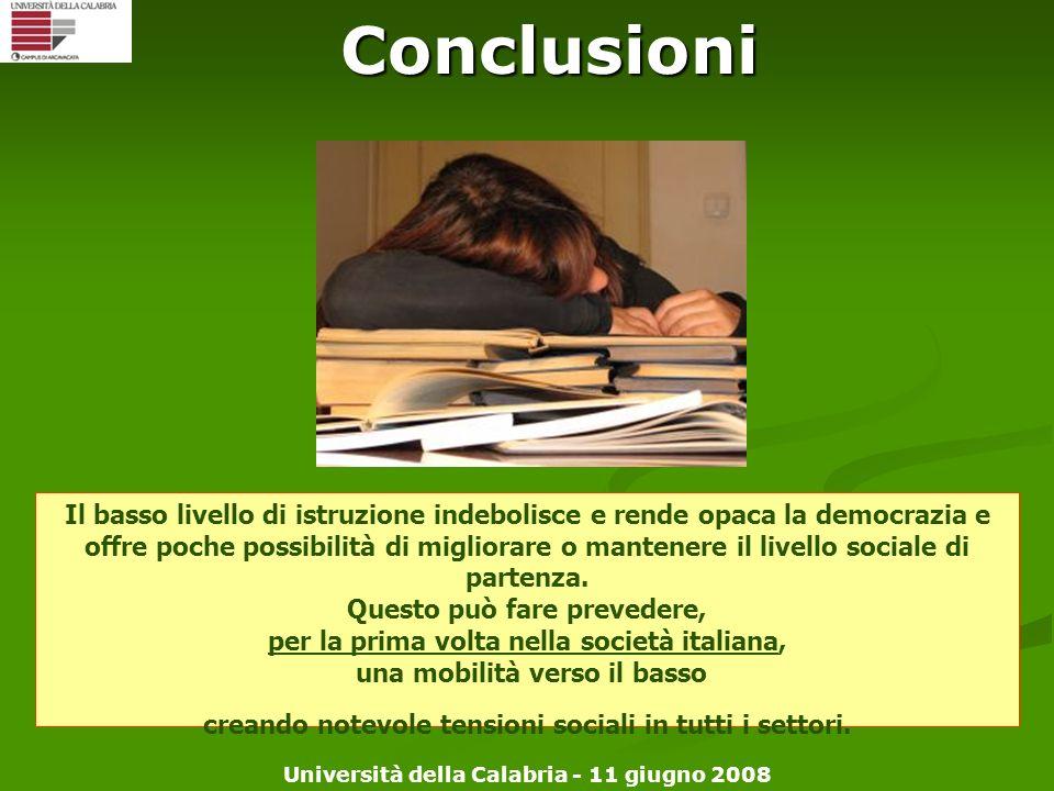 Università della Calabria - 11 giugno 2008 Conclusioni Il basso livello di istruzione indebolisce e rende opaca la democrazia e offre poche possibilit
