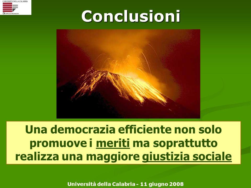 Università della Calabria - 11 giugno 2008Conclusioni Una democrazia efficiente non solo promuove i meriti ma soprattutto realizza una maggiore giusti