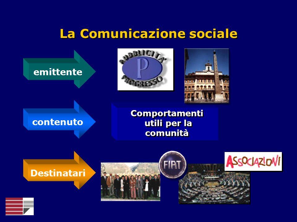 Comportamenti utili per la comunità Comportamenti utili per la comunità La Comunicazione sociale emittente contenuto Destinatari