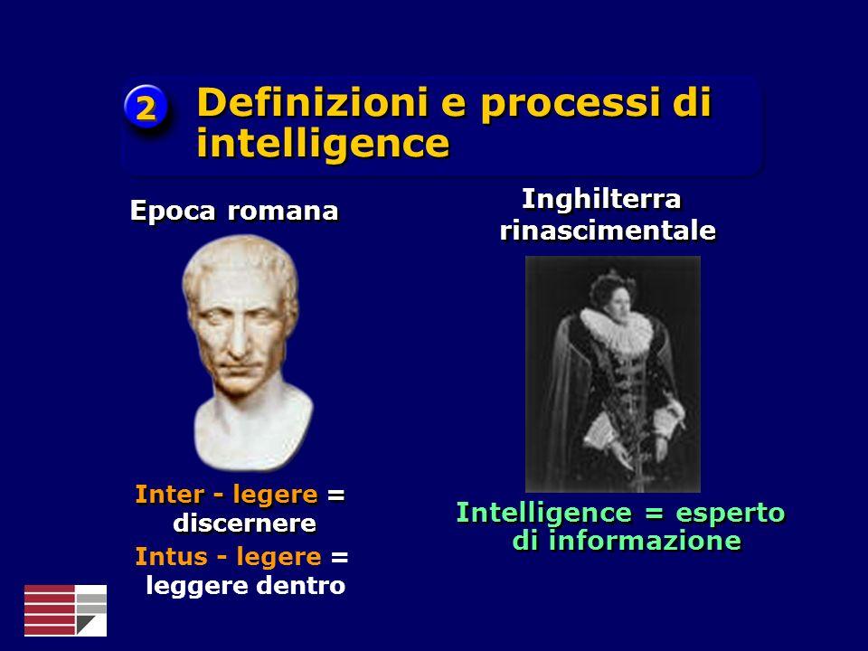 Intelligence = esperto di informazione Inghilterra rinascimentale Definizioni e processi di intelligence 2 2 Inter - legere = discernere Epoca romana