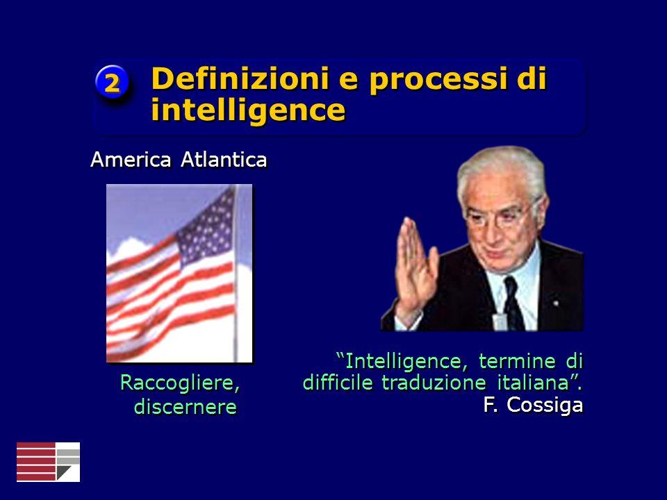 Raccogliere, discernere Raccogliere, discernere America Atlantica Intelligence, termine di difficile traduzione italiana. F. Cossiga Definizioni e pro