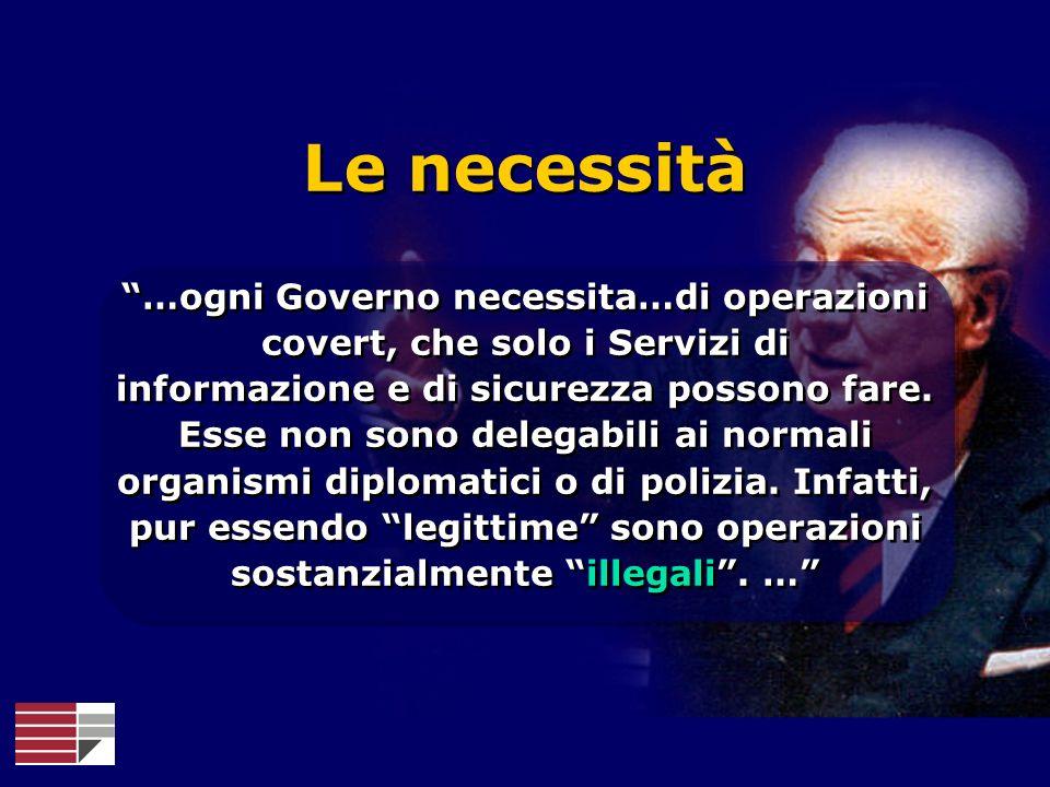 Le necessità …ogni Governo necessita…di operazioni covert, che solo i Servizi di informazione e di sicurezza possono fare. Esse non sono delegabili ai