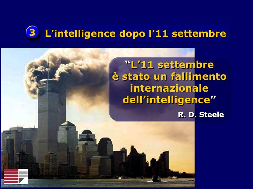 3 3 Lintelligence dopo l11 settembre R. D. Steele L11 settembre è stato un fallimento internazionale dellintelligence L11 settembre è stato un fallime