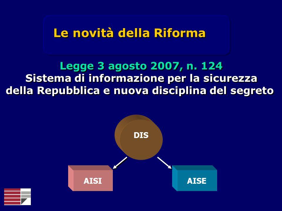 DIS AISIAISE Le novità della Riforma Legge 3 agosto 2007, n. 124 Sistema di informazione per la sicurezza della Repubblica e nuova disciplina del segr