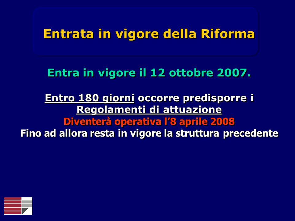 Entrata in vigore della Riforma Entra in vigore il 12 ottobre 2007. Entro 180 giorni occorre predisporre i Regolamenti di attuazione Diventerà operati