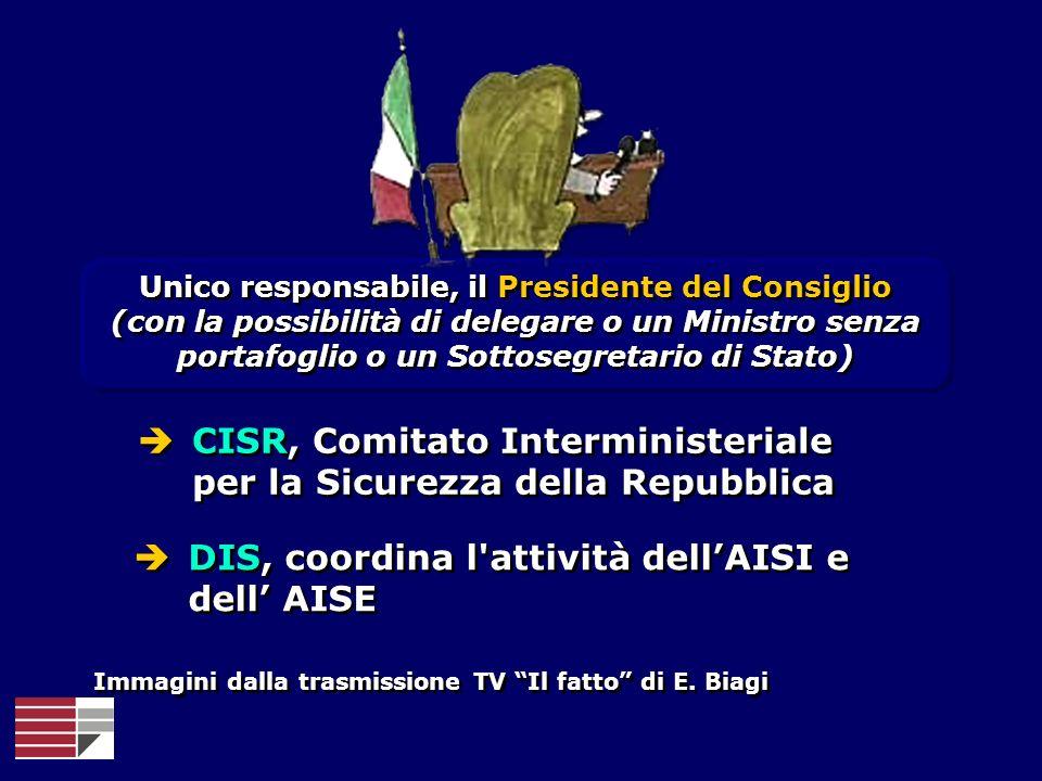 Unico responsabile, il Presidente del Consiglio (con la possibilità di delegare o un Ministro senza portafoglio o un Sottosegretario di Stato) Unico r
