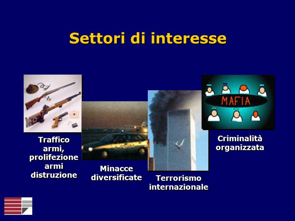 Traffico armi, prolifezione armi distruzione Minacce diversificate Terrorismo internazionale Criminalità organizzata Settori di interesse