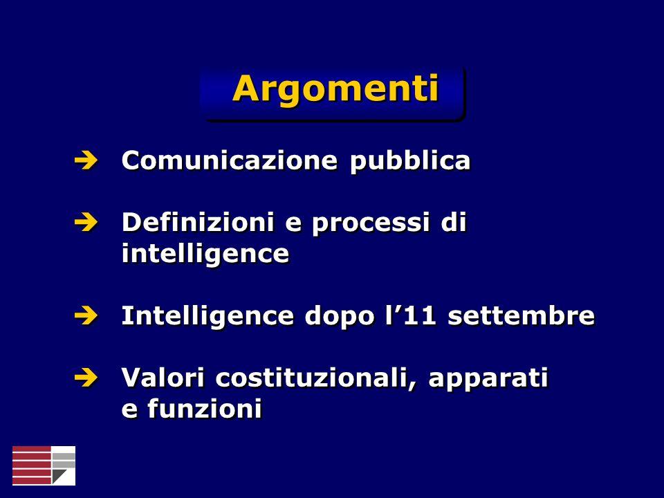 Argomenti Comunicazione pubblica Definizioni e processi di intelligence Intelligence dopo l11 settembre Valori costituzionali, apparati e funzioni