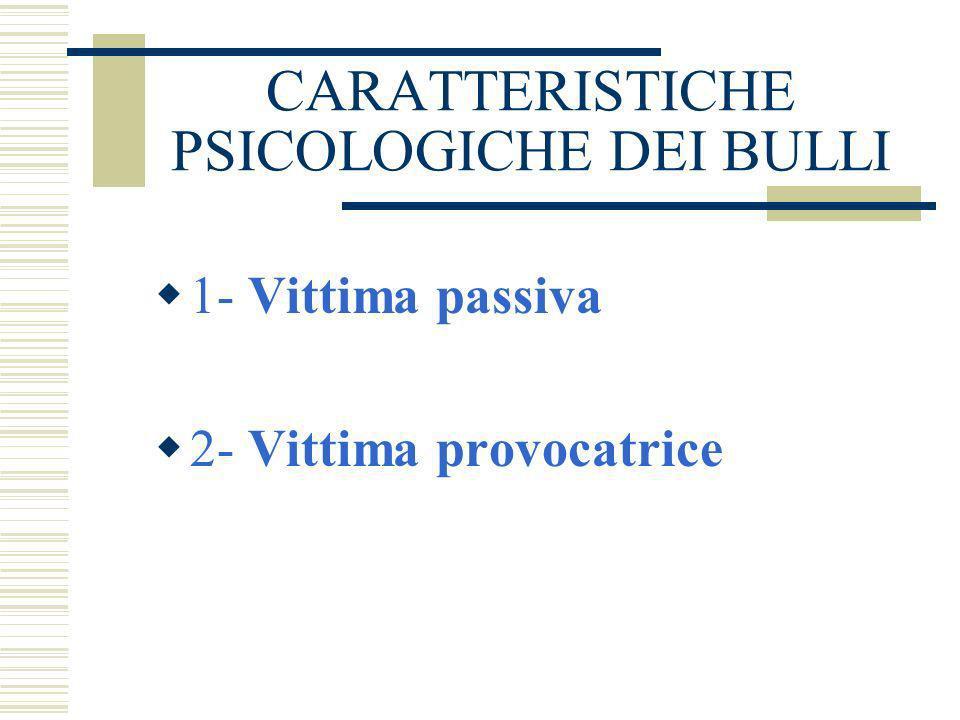 CARATTERISTICHE PSICOLOGICHE DEI BULLI 1- BULLO DOMINANTE 2- BULLO GREGARIO 3- BULLO-VITTIMA