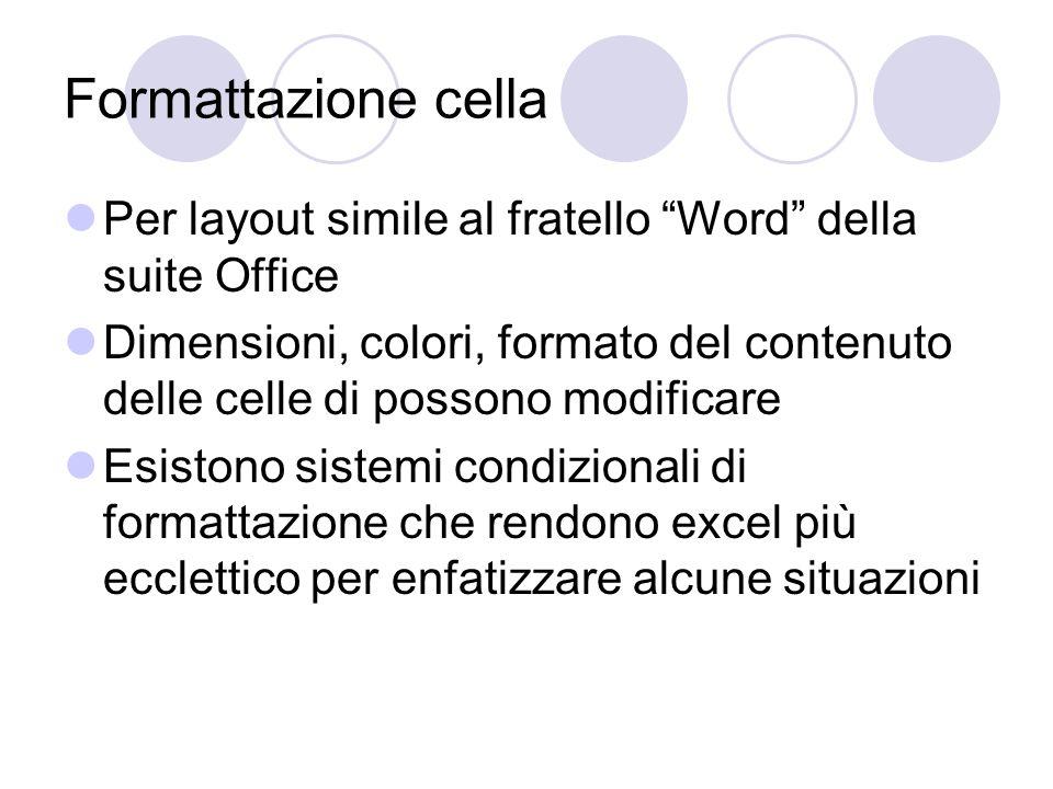 Formattazione cella Per layout simile al fratello Word della suite Office Dimensioni, colori, formato del contenuto delle celle di possono modificare Esistono sistemi condizionali di formattazione che rendono excel più ecclettico per enfatizzare alcune situazioni
