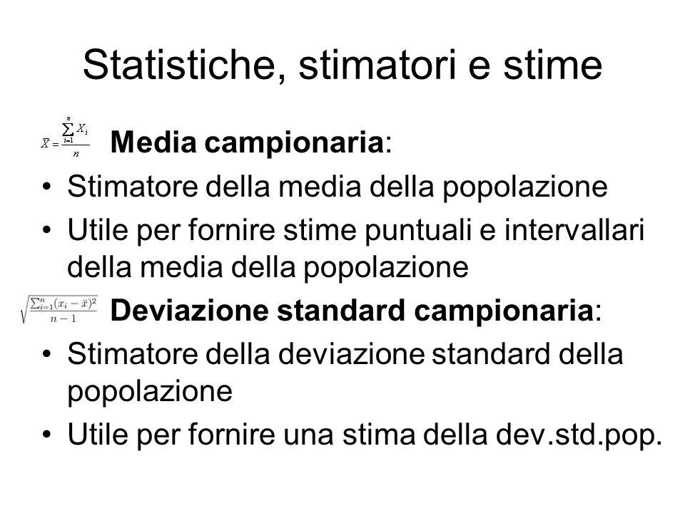 Statistiche, stimatori e stime Media campionaria: Stimatore della media della popolazione Utile per fornire stime puntuali e intervallari della media