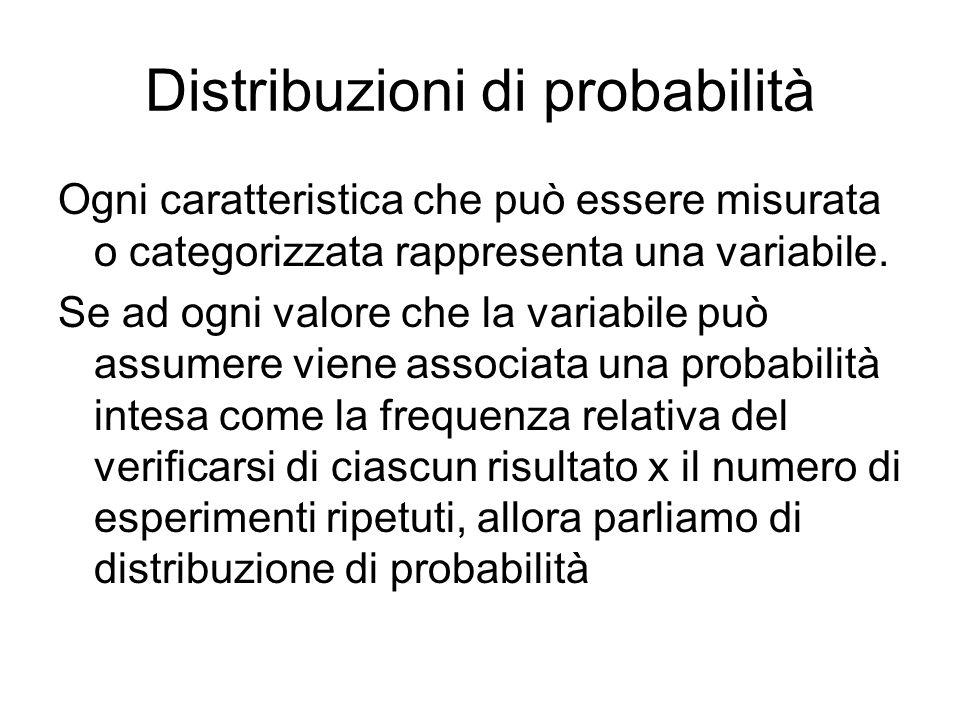 Distribuzioni di probabilità Ogni caratteristica che può essere misurata o categorizzata rappresenta una variabile. Se ad ogni valore che la variabile