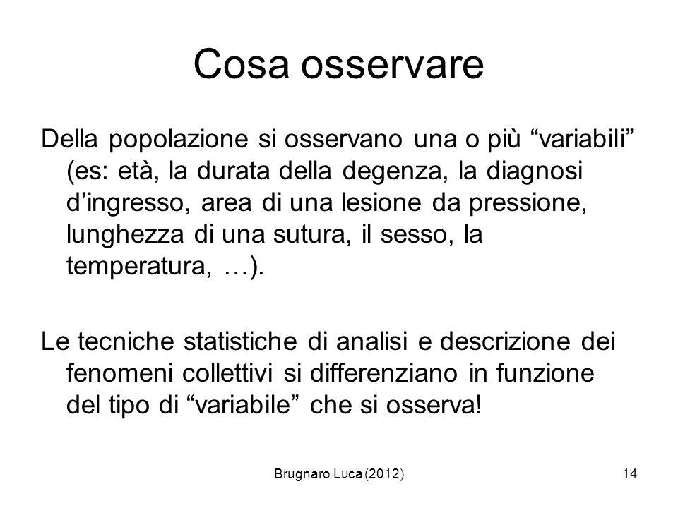 Brugnaro Luca (2012)14 Cosa osservare Della popolazione si osservano una o più variabili (es: età, la durata della degenza, la diagnosi dingresso, are
