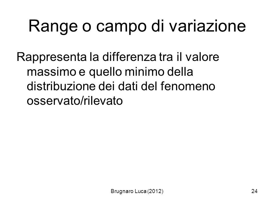 Brugnaro Luca (2012)24 Range o campo di variazione Rappresenta la differenza tra il valore massimo e quello minimo della distribuzione dei dati del fe