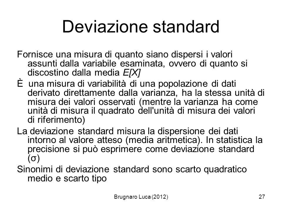 Brugnaro Luca (2012)27 Deviazione standard Fornisce una misura di quanto siano dispersi i valori assunti dalla variabile esaminata, ovvero di quanto s