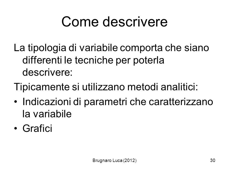 Brugnaro Luca (2012)30 Come descrivere La tipologia di variabile comporta che siano differenti le tecniche per poterla descrivere: Tipicamente si util