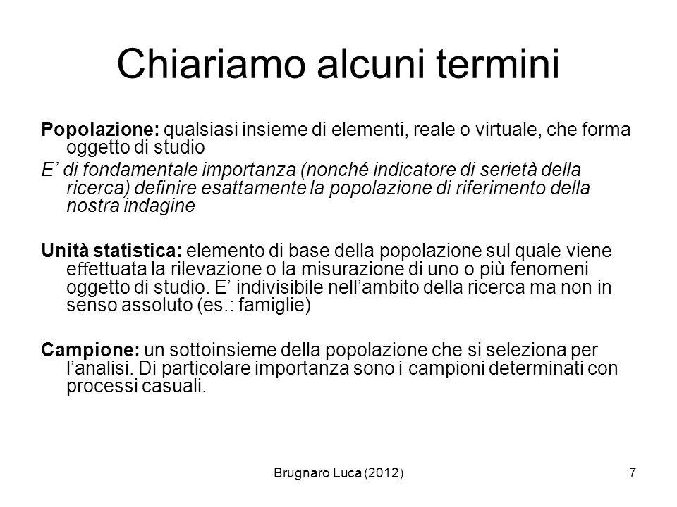 Brugnaro Luca (2012)7 Chiariamo alcuni termini Popolazione: qualsiasi insieme di elementi, reale o virtuale, che forma oggetto di studio E di fondamen