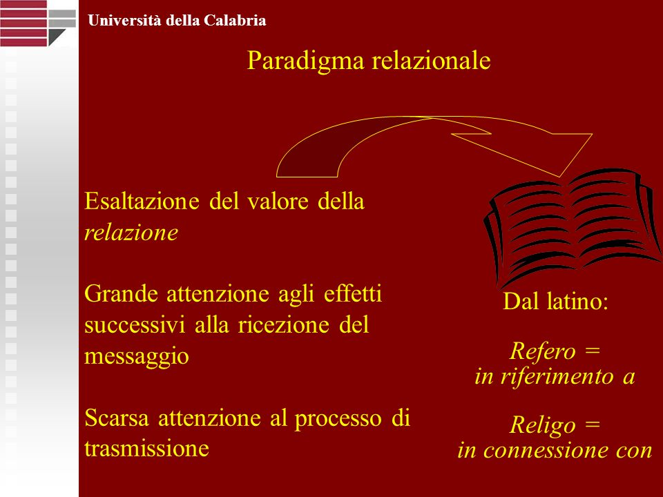 Università della Calabria Paradigma relazionale Esaltazione del valore della relazione Grande attenzione agli effetti successivi alla ricezione del me
