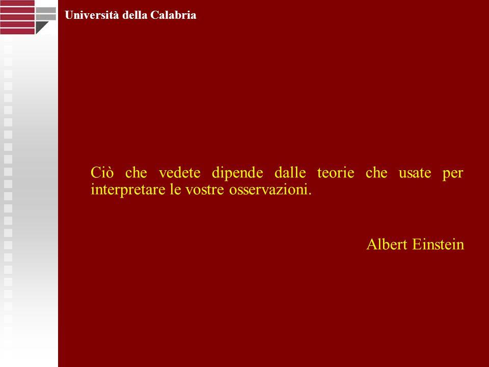 Università della Calabria Ciò che vedete dipende dalle teorie che usate per interpretare le vostre osservazioni. Albert Einstein