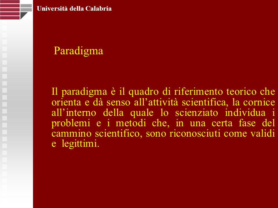 Università della Calabria Il paradigma è il quadro di riferimento teorico che orienta e dà senso allattività scientifica, la cornice allinterno della