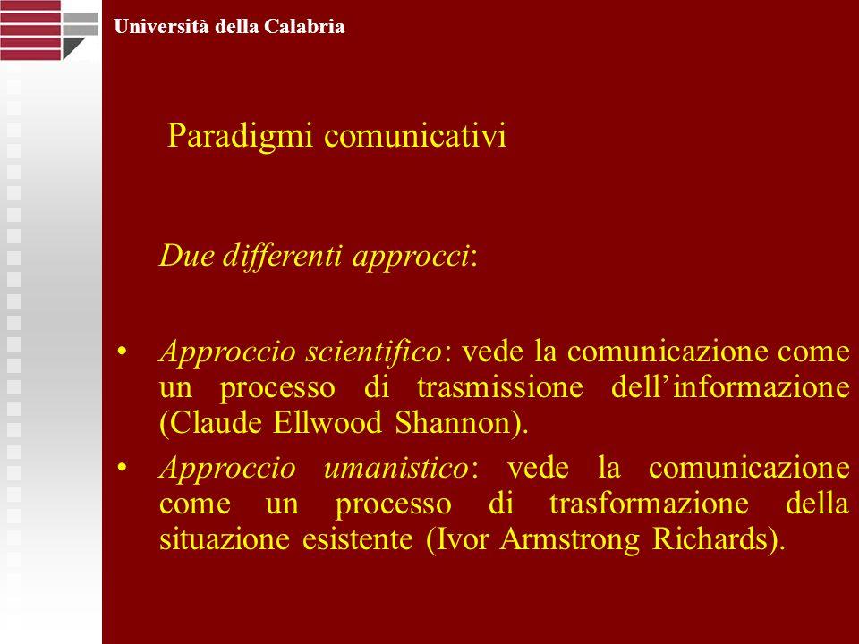 Università della Calabria Due differenti approcci: Approccio scientifico: vede la comunicazione come un processo di trasmissione dellinformazione (Cla